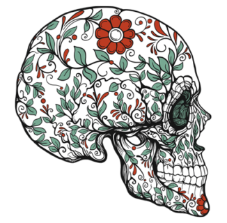 sugar skull with vines and red flowers