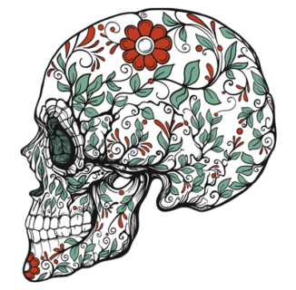 sugar skull with vines and flowers