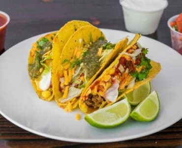 steak beef hard shell tacos with salsa
